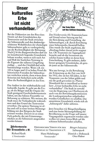 Mit einer bezahlten Anzeige im Traunsteiner Tagblatt versuchten wir unsere städtebauliche Vision der Öffentlichkeit bekannt zu machen.
